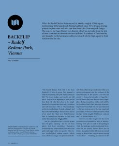 Backflip: When the Rudolf Bednar Park opened in 2008 its roughly 32,000 square metres made it the largest park Vienna had built since 1974.